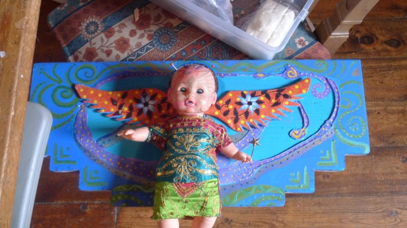 """""""angel baby"""" assemblage with baby doll"""