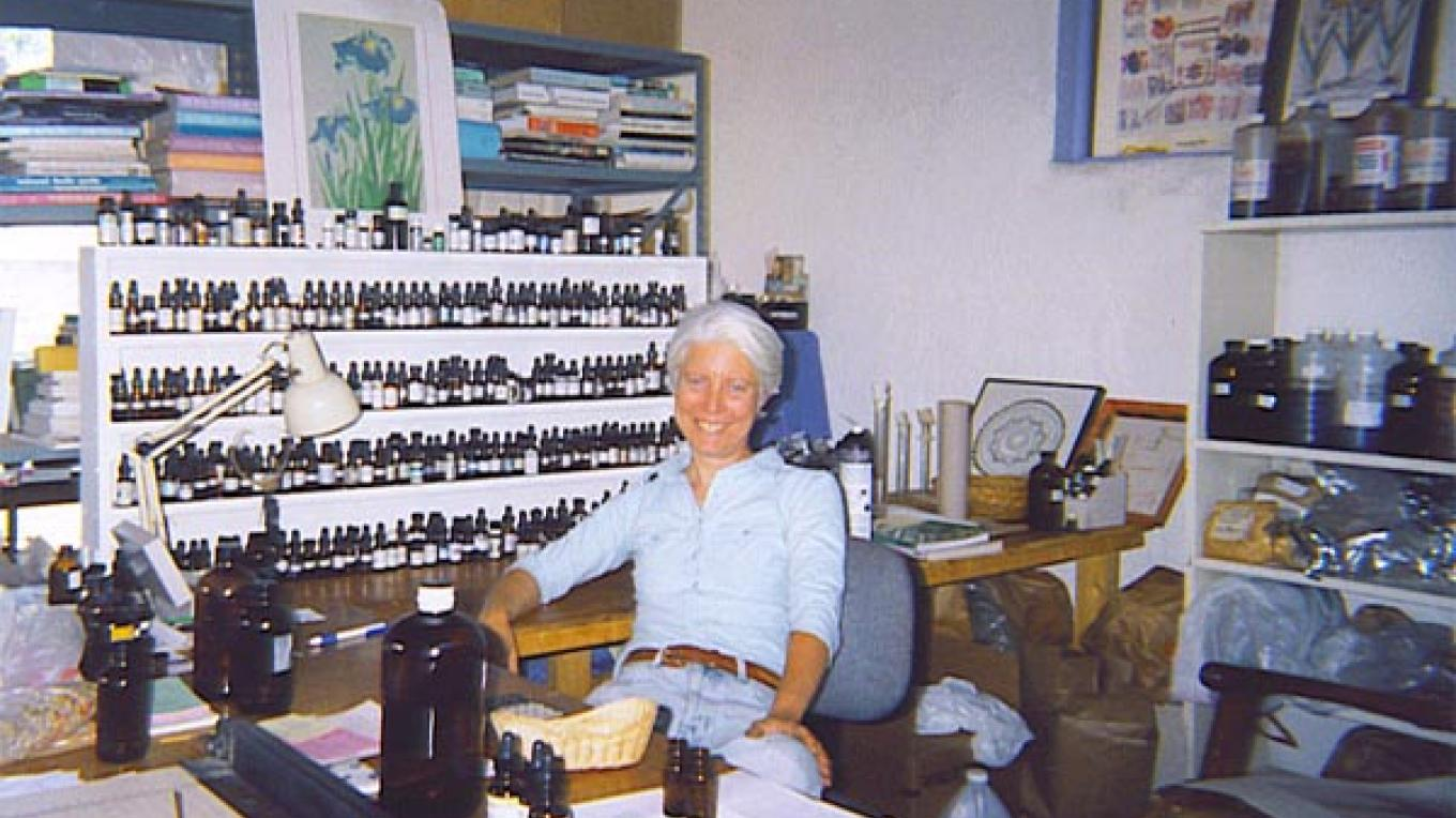 Herbalist Cathy Hope in her aromatherapy lab
