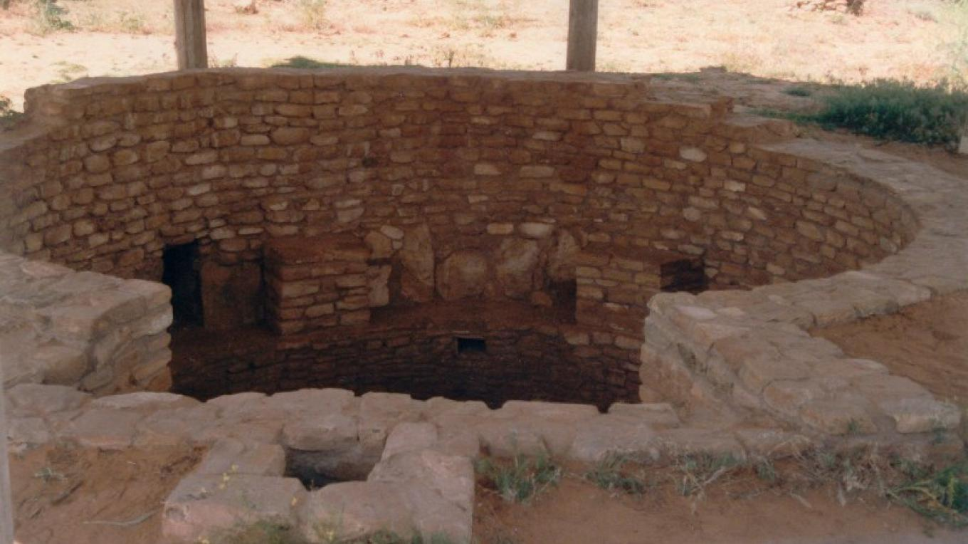 The exposed Kiva with part of the residence block visible in the background. – S. Taylor