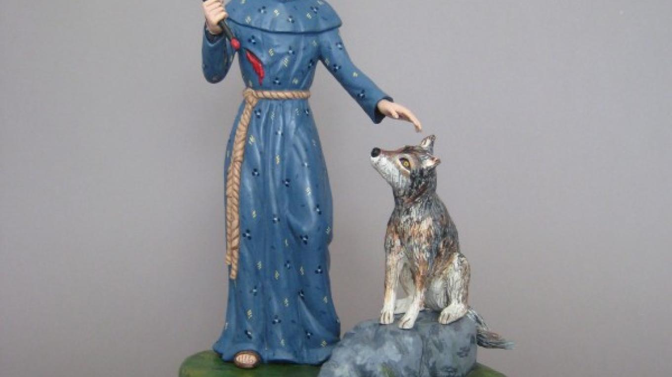 Saint Francis and the Wolf of Gubio, Hand Carved and Painted Wood