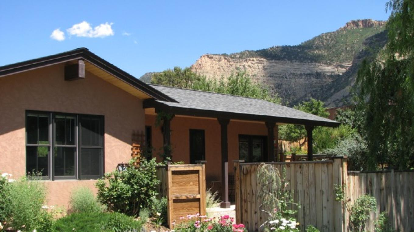 Brunk Guest House with mesa to the rear – Rebecca Brunk