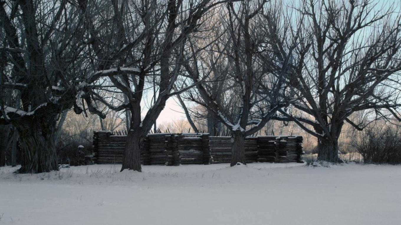 "Winter at the Pike's Stockade after the Stockade was restored by the Colorado Historical Society – Michael ""Spydr"" Wren"