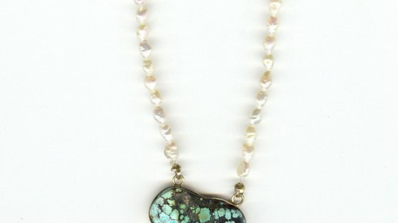 Designer Original Jewelry by Tiki - 'Lady Miner'.                                               'One -of -A -Kind'    14k Yellow Gold, Hachita, N.M. turquoise,  and freshwater pearl necklace – Tiki Carpenter
