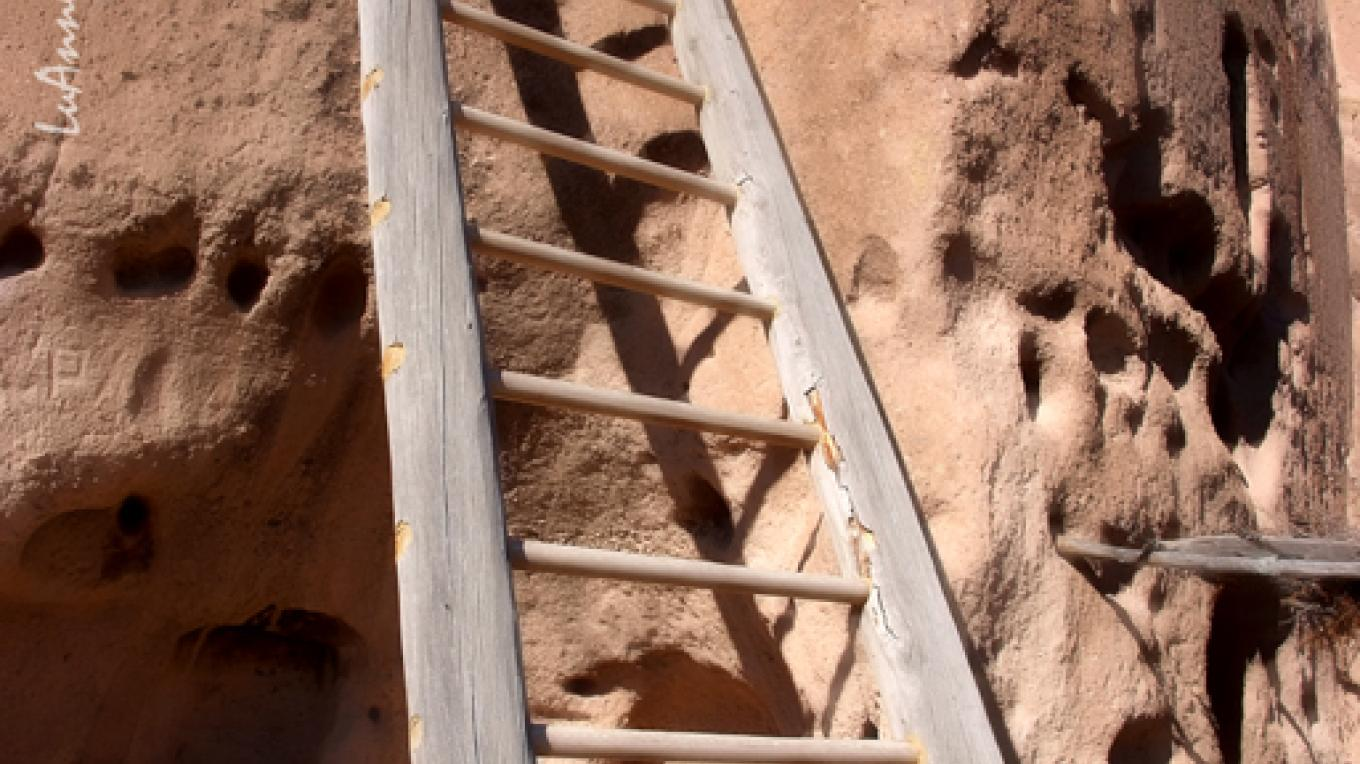 Ladder leading to second level homes and stone stairways and trails. – Lu Ann Jackson