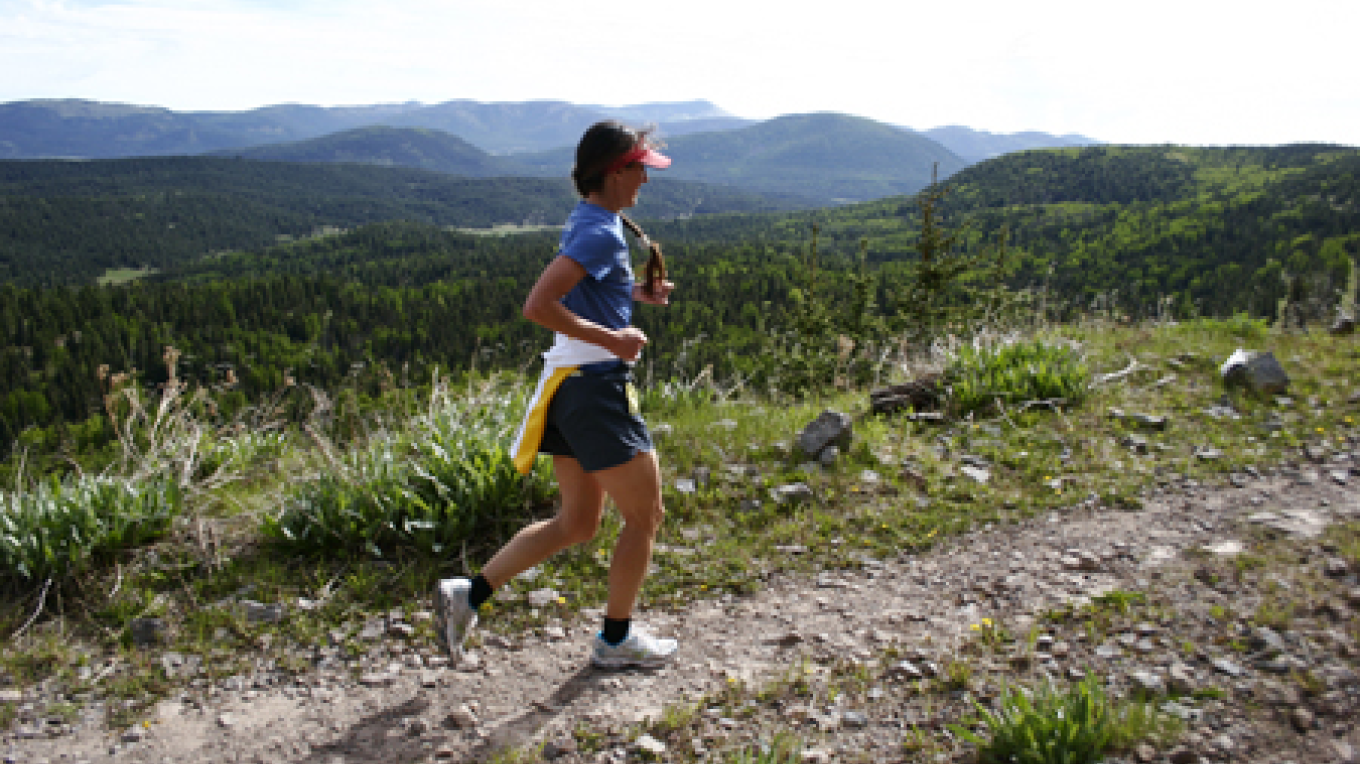 Runner near top of the 2000 foot climb in the marathon. – Rourke McDermott
