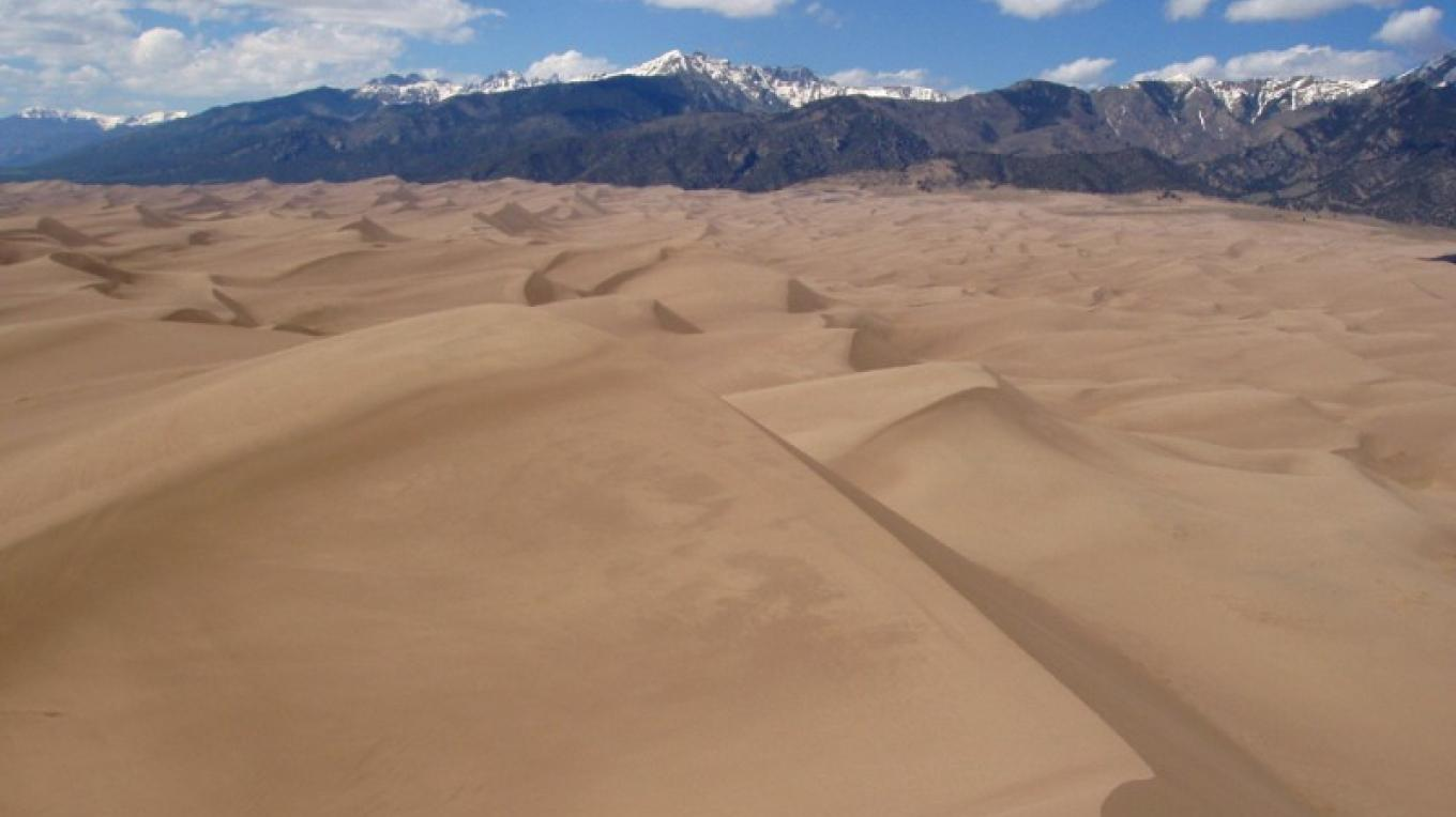 The dunefield appears to be a sea of sand from the 750' Star Dune. – NPS/Fred Bunch
