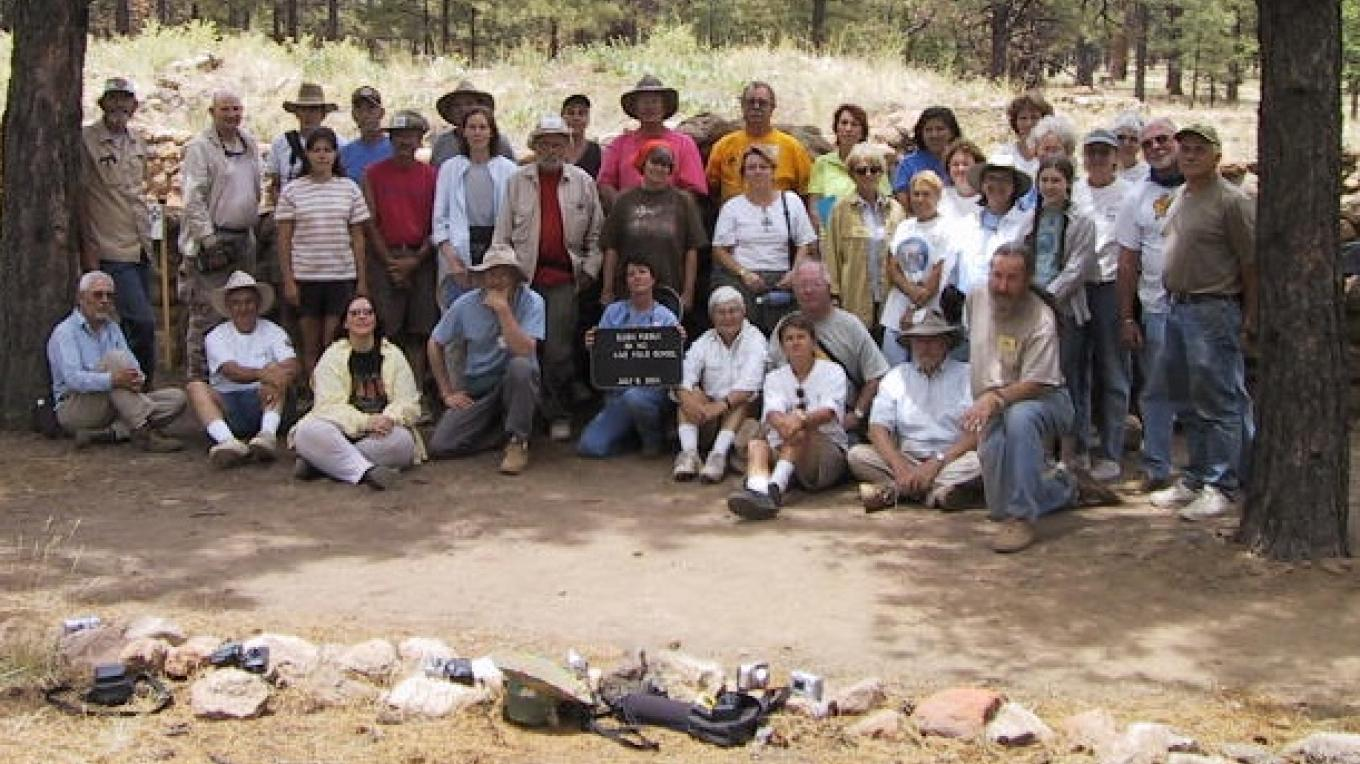 A US Forest Service/Arizona Archaeological Soceity field crew graduation picture after a week of training in the dirt. – Ron Robinson, Arizona Archaeological Society