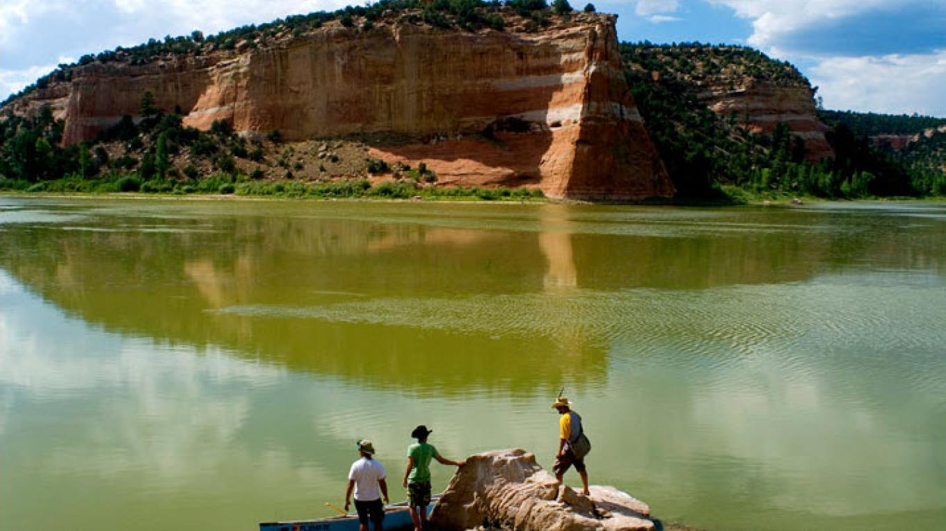 3 friends canoeing on Ramah Lake – Brian Leddy - Photo Journalist - Gallup, New Mexico