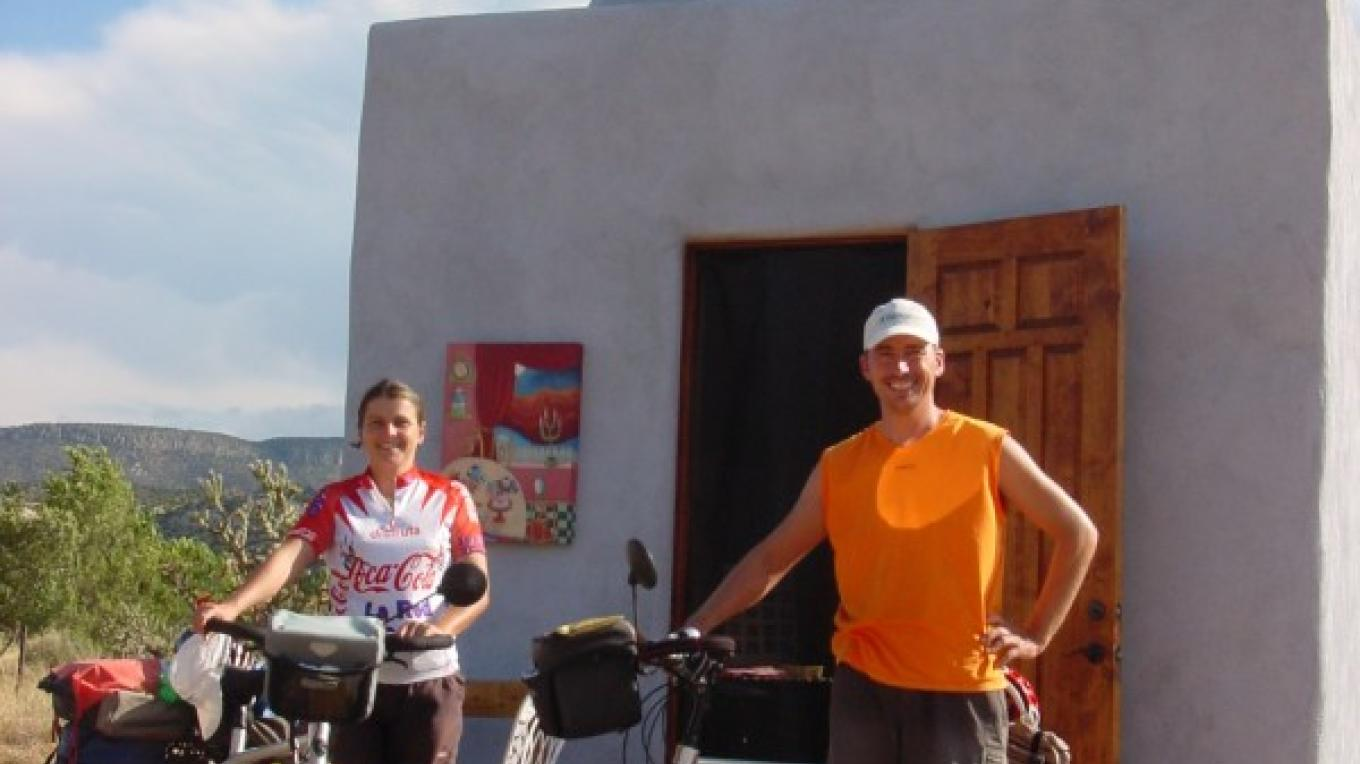 Bicyclists from France stopping by the Dome at Los Silvestres. – Richard Bock