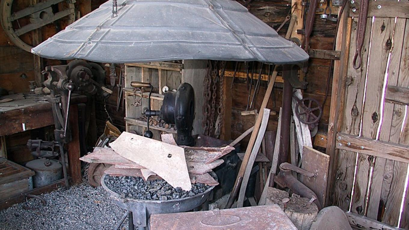 The functioning forge inside the blacksmith shop – Dale W Anderson