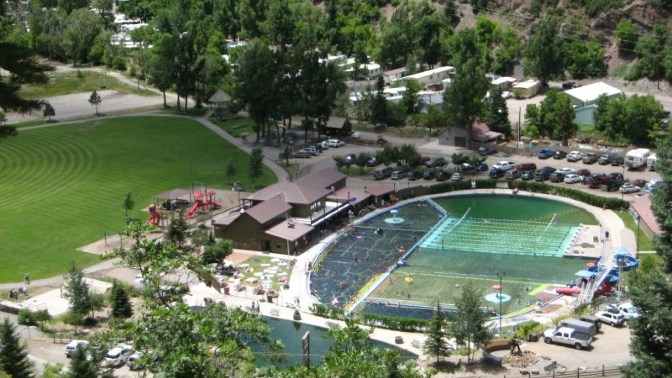 The Ouray Hot Springs Pool as seen from a nearby hiking trail – R Noll