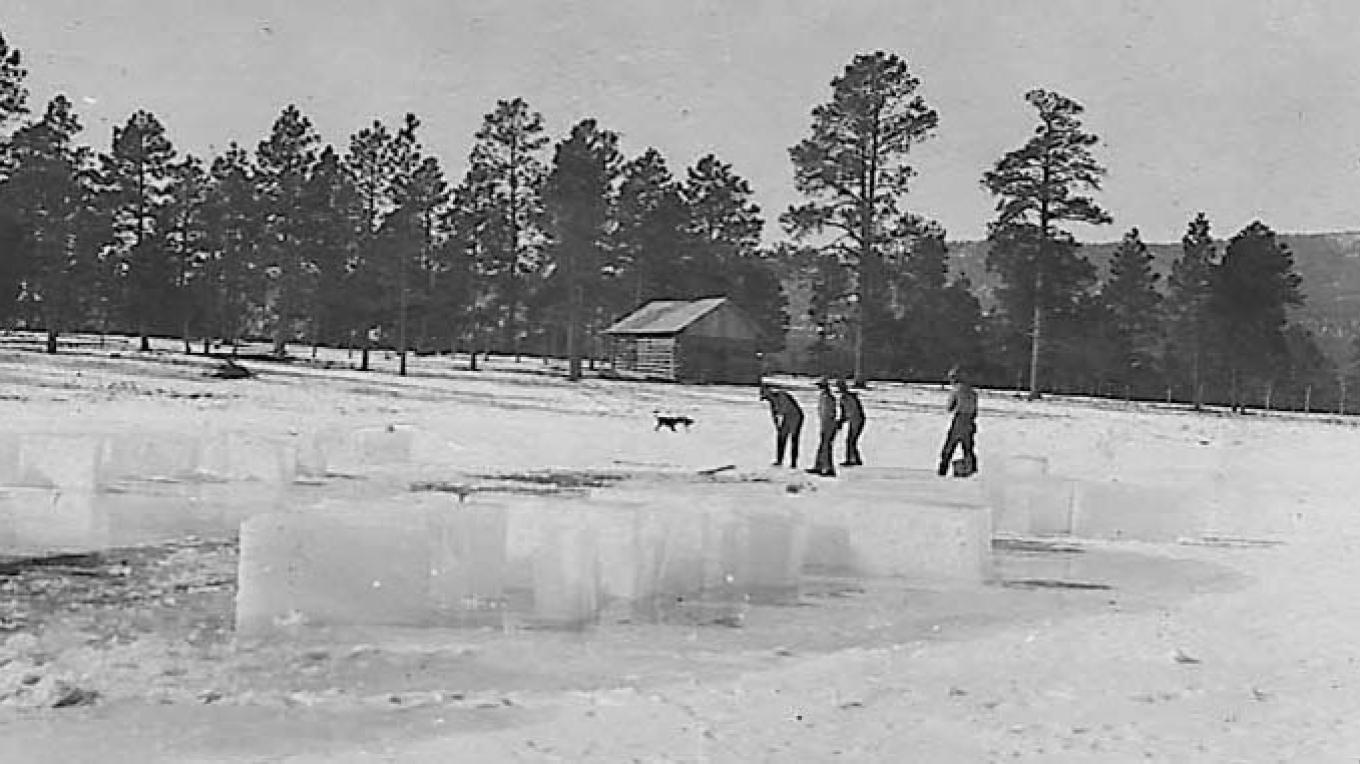 The Los Alamos Ranch School staff cut ice from Ashley Pond each winter and stored it in a nearby ice house. – From the Los Alamos Historical Museum Archives