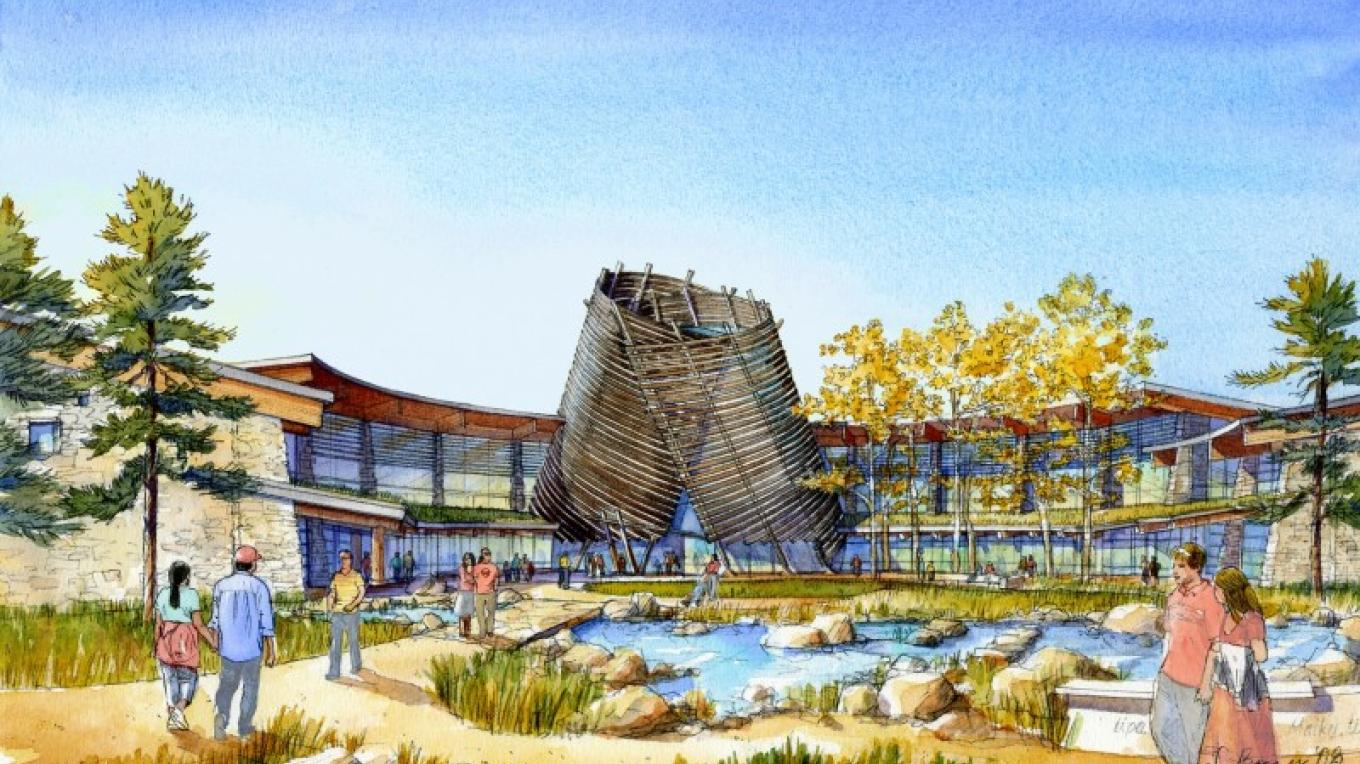 Elevation of the new Southern Ute Cultural Center & Museum open in June 2011 – Courtesy Jones & Jones Architects and Landscape Architects, Ltd.