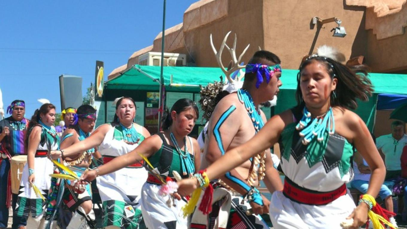 Young Zuni dance group at an arts festival held at the Visitor Center. – Tom R. Kennedy