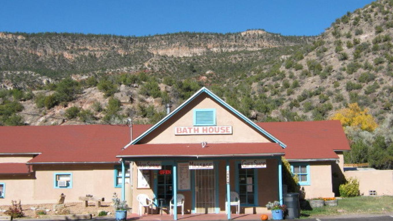 The historic Jemez Springs Bath House built in the mid-1870's is owned & operated by the Village of Jemez Springs. – Talty Robinson