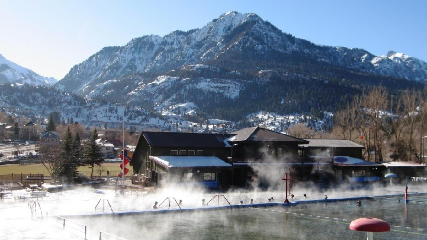 Ouray Hot Springs Pool on a sunny (steamy) winter morning – R Noll