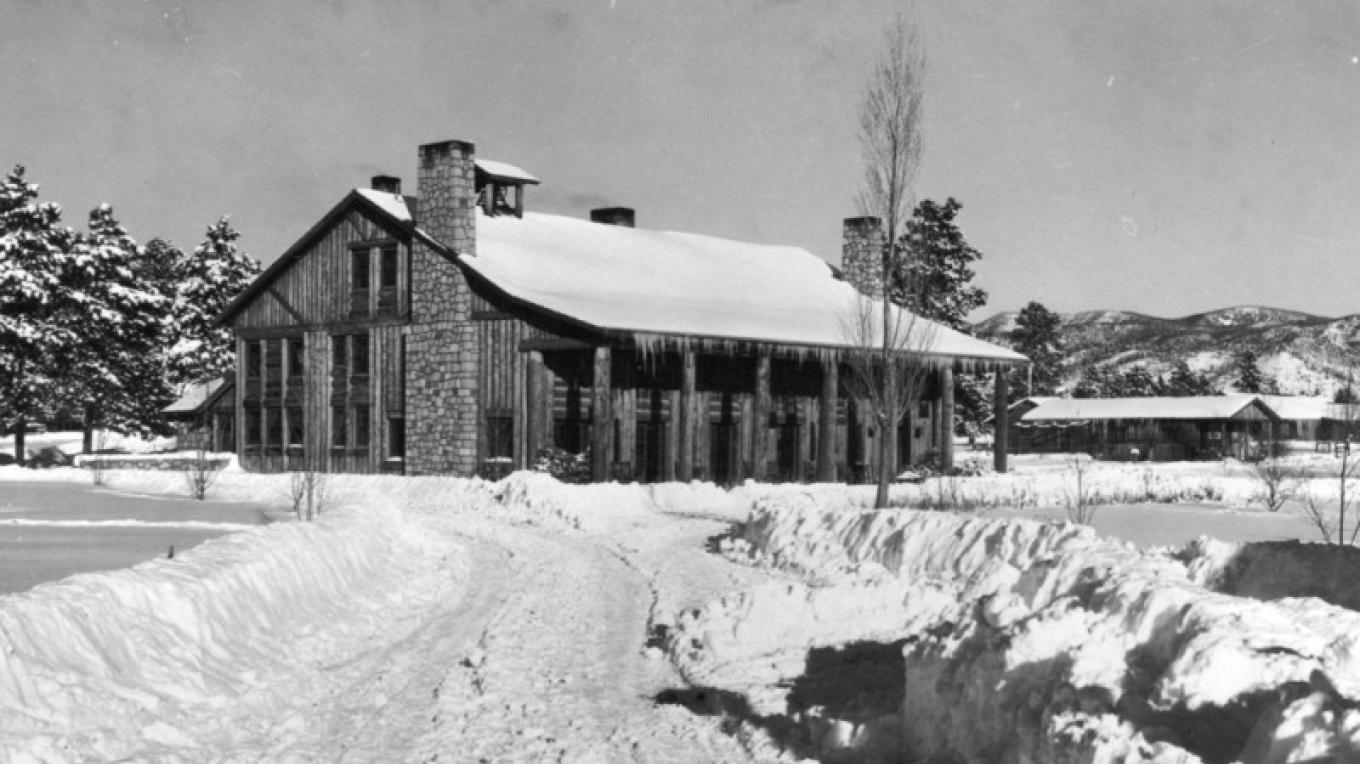 Fuller Lodge in the 1930s, before the wings were added – From the Los Alamos Historical Museum Archives