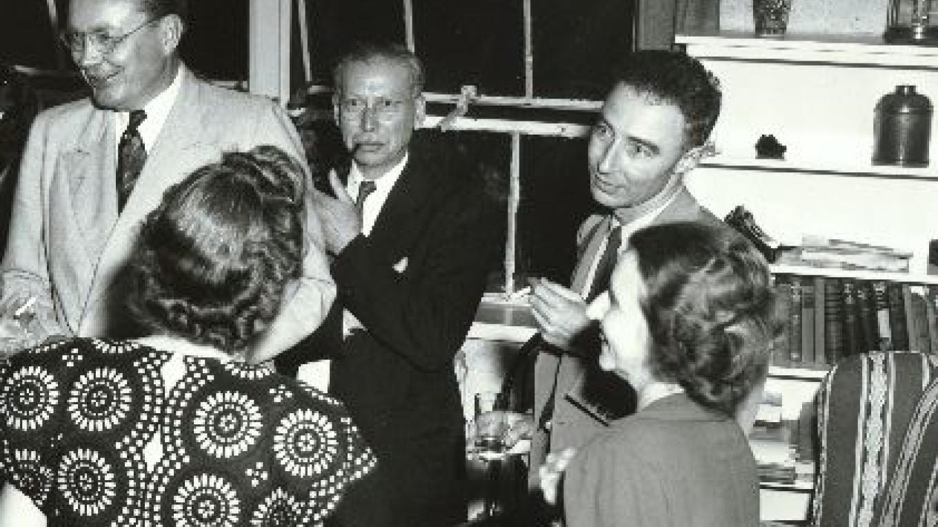 Robert Oppenheimer enjoys a party at his home during the Manhattan Project – From the Los Alamos Historical Museum Archives