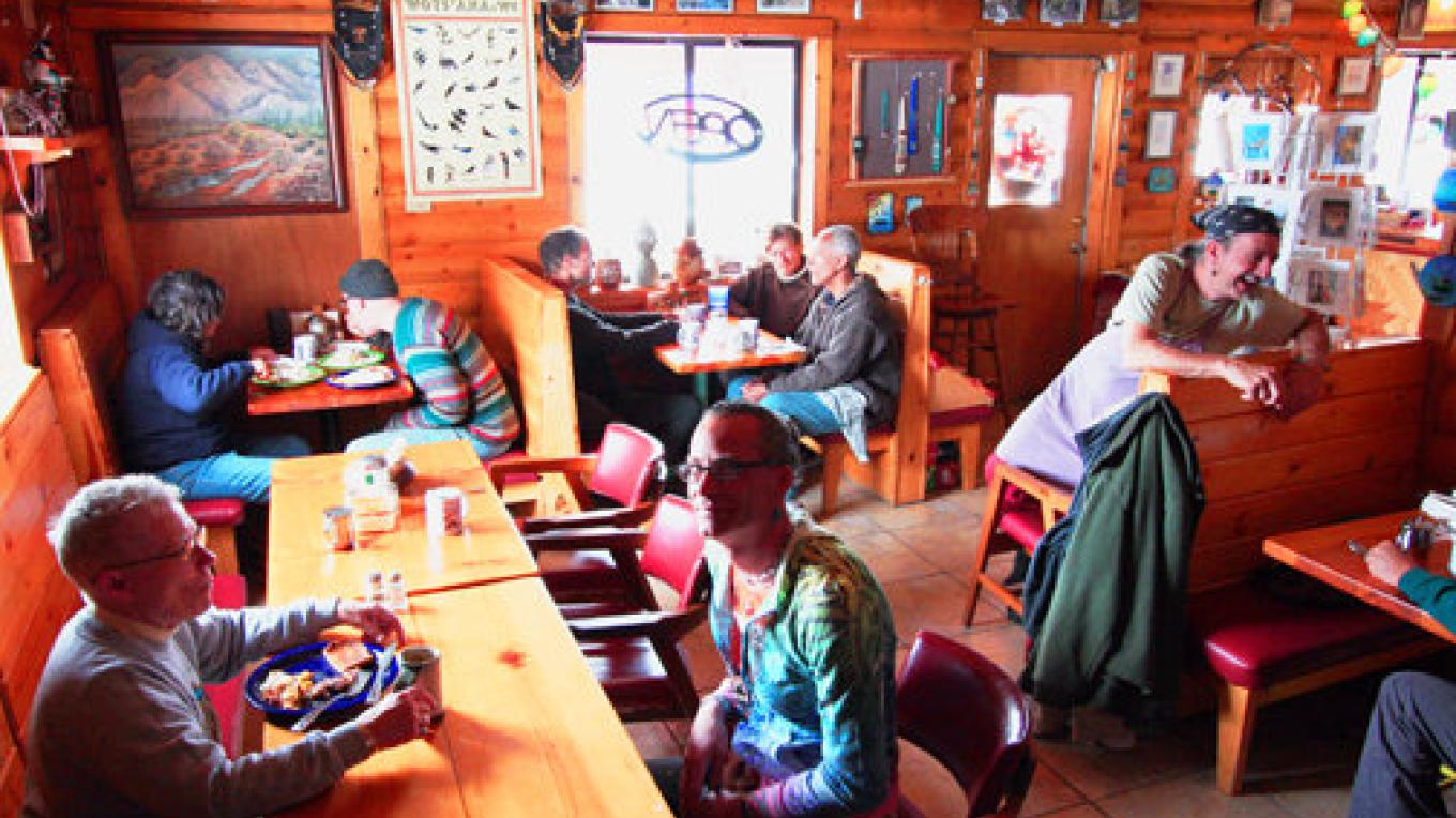 A friendly group of diners at the Ancient Way cafe – Paula Jacobs