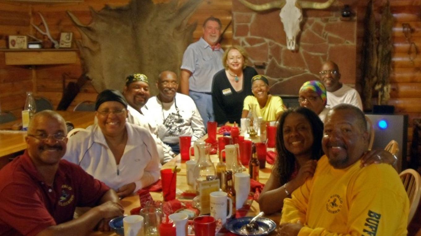 Buffalo Soldiers Motorcycle group inside Cottonwood Steakhouse. – Diana Davidson