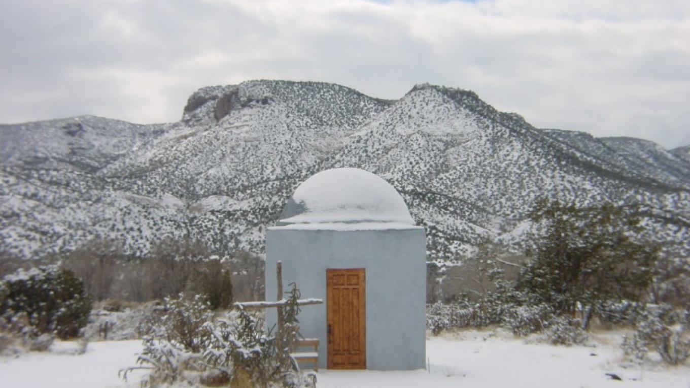 Dome at Los Silvestres capped by a winter snow storm. – Richard Bock