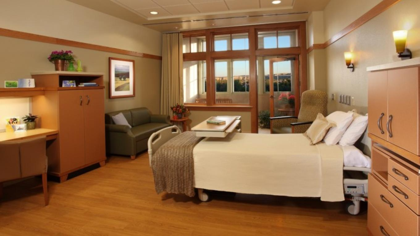 One of our patient rooms with a fresh-air balcony.