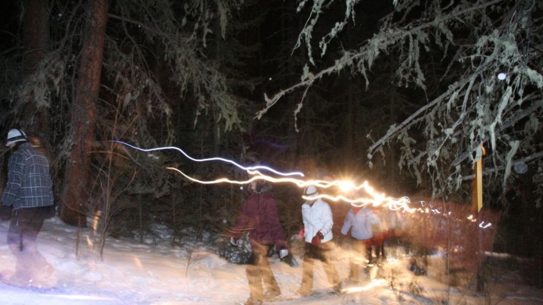 Headlamp snowshoe tour – Ellen Miller-Goins