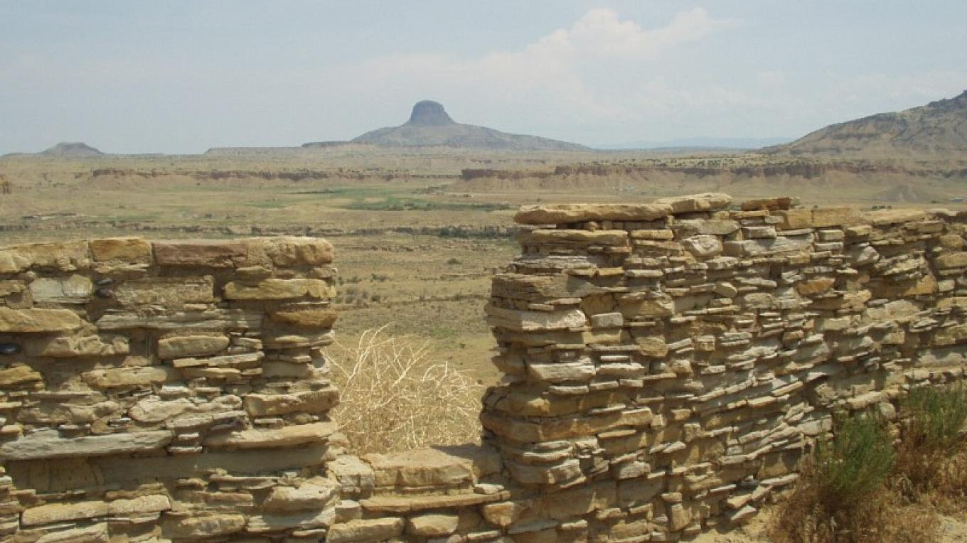 Cabezon Peak through Chacoan doorway. – Gretchen Obenauf
