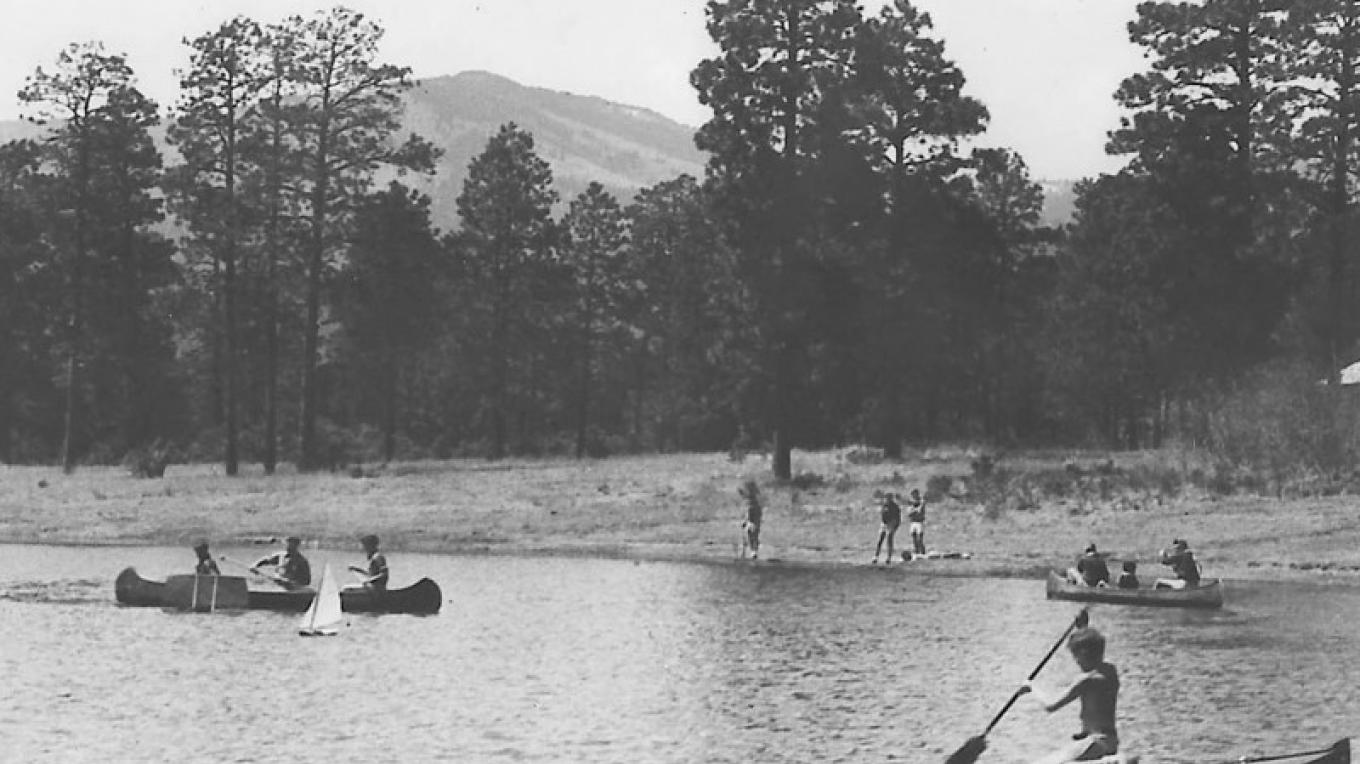 Boys from the Los Alamos Ranch School canoe on Ashley Pond – From the Los Alamos Historical Museum Archives