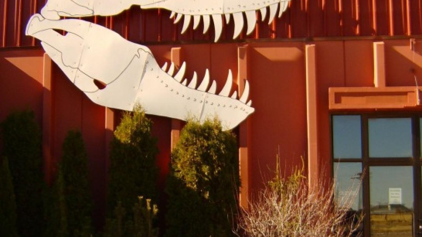 Walk under the Tyranasaurous to enter the Dinosaur Museum. – San Juan County, Utah Visitor Services