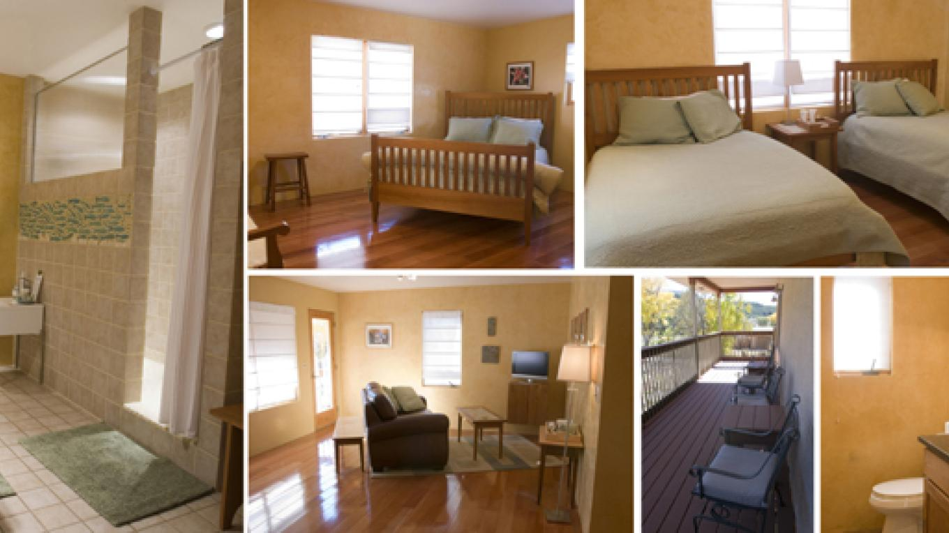 Suite B- 2 bedrooms, 1 queen bed, 2 full beds, living area, 1.5 baths, private deck – B Janecka