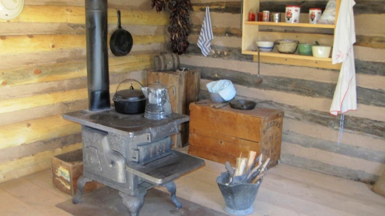Original wood stove in the Romero Cabin – G. Strickfaden