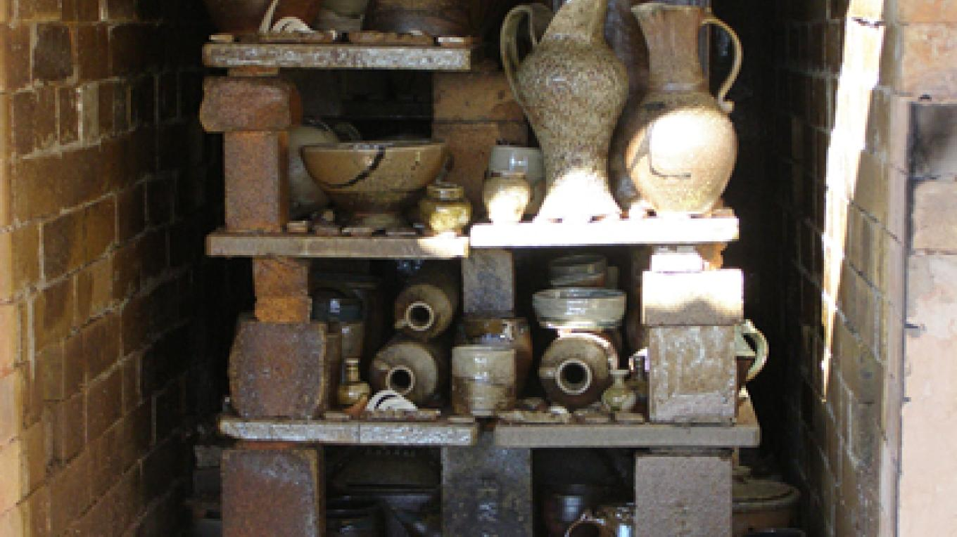 Pots ready for unloading from the wood burning kiln – Sandra Harrington