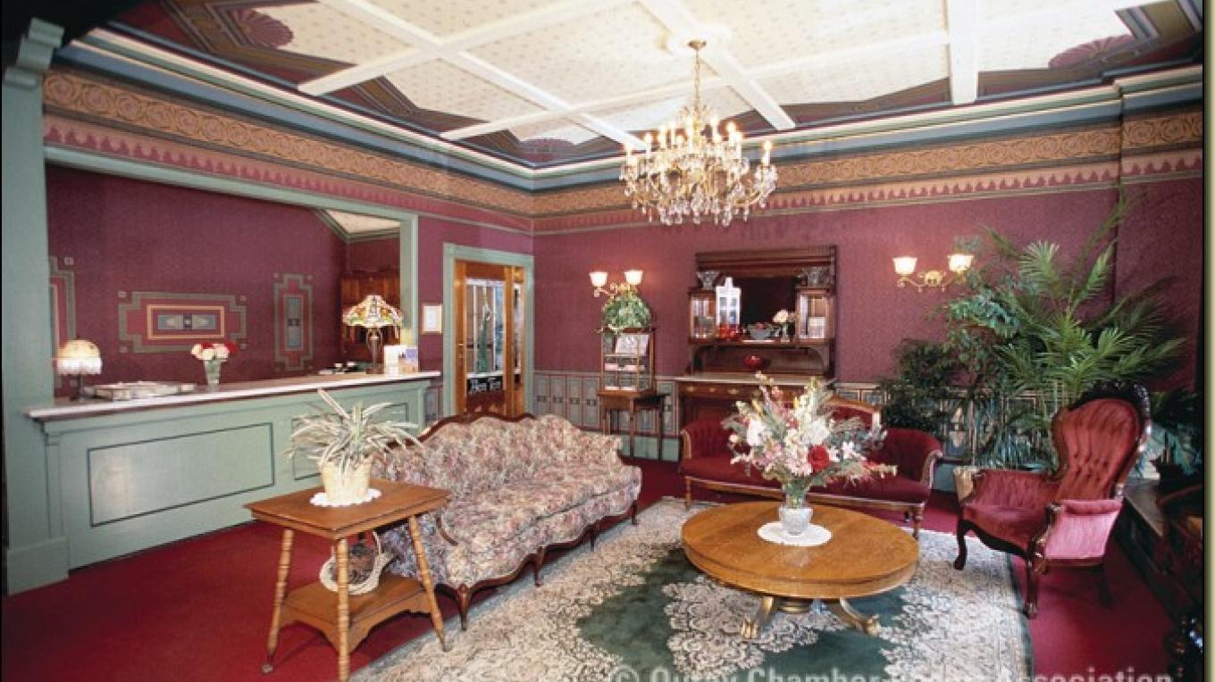 Restored lobby of the St. Elmo Hotel
