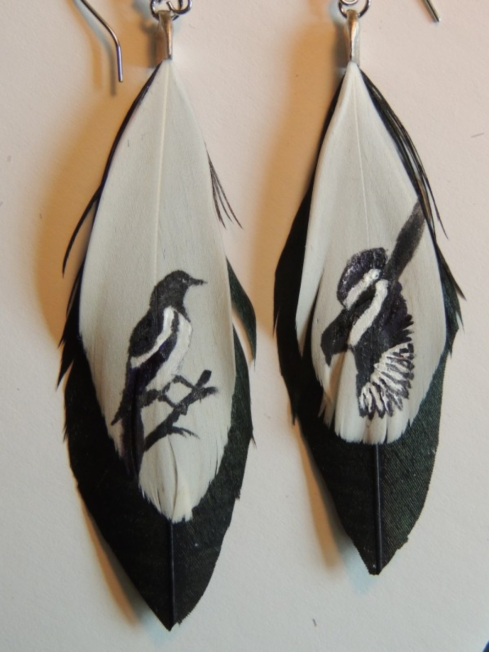 Rob Harding - Hand-painted feather earrings