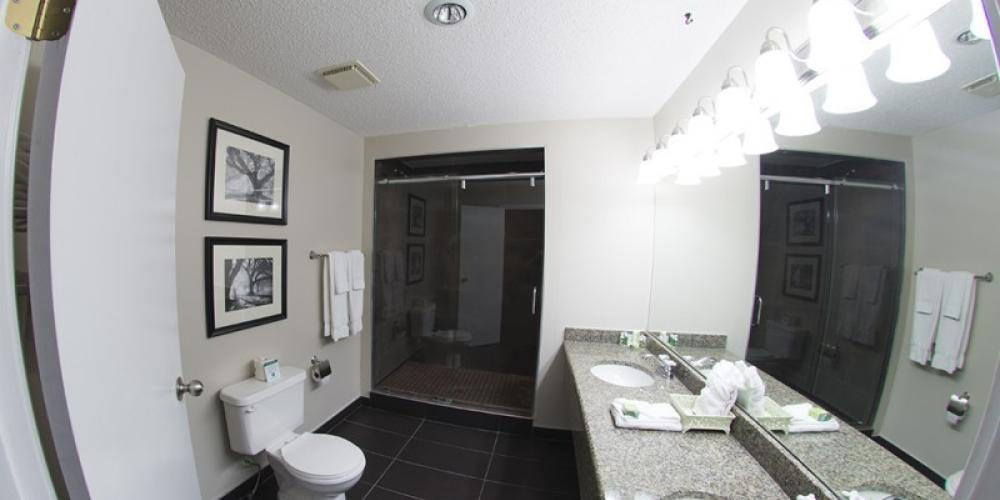 Romantic Suite Bathroom with shower for 2!