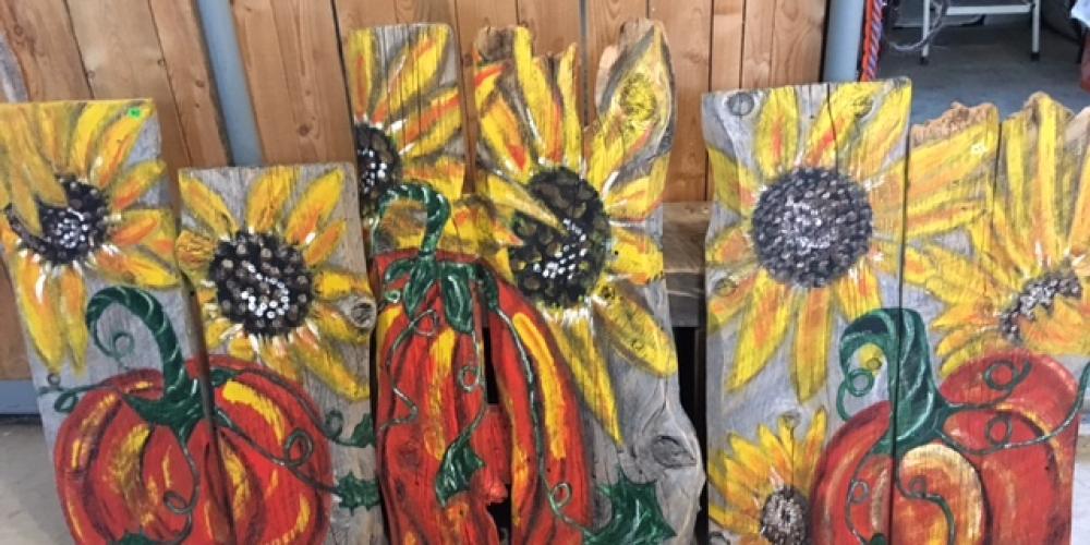 Georgette Laing - Painting on barn board