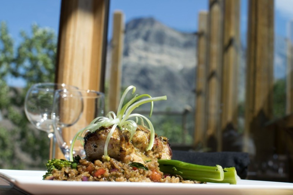 Enjoy your meal with spectacular mountain views from our upper dining room