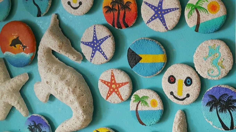 Paintings on stones found on Eleuthera – the blue seahorse