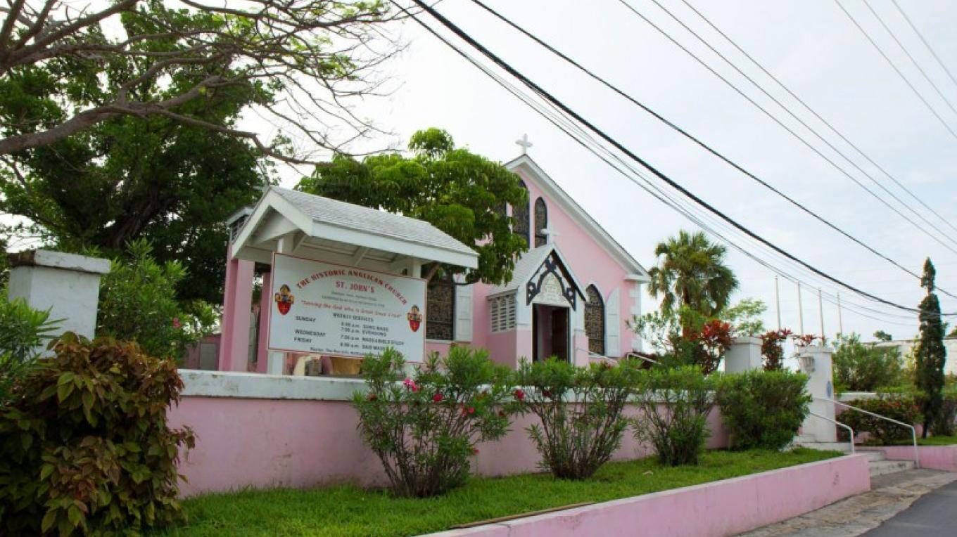 Side view of front entrance at St. John's Anglican Church – Bahamas Ministry of Tourism