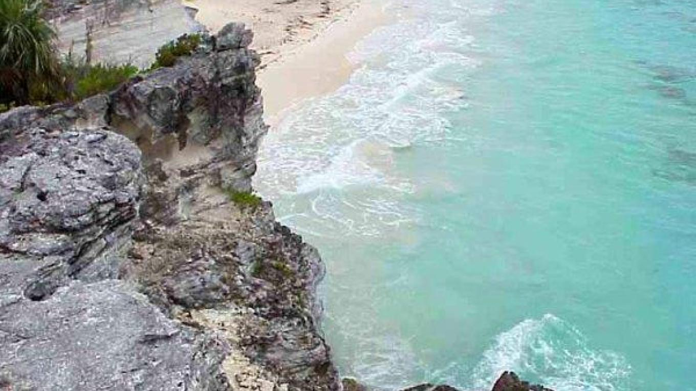 View of Whiteland Beach from high upon the rocks – threebestbeaches