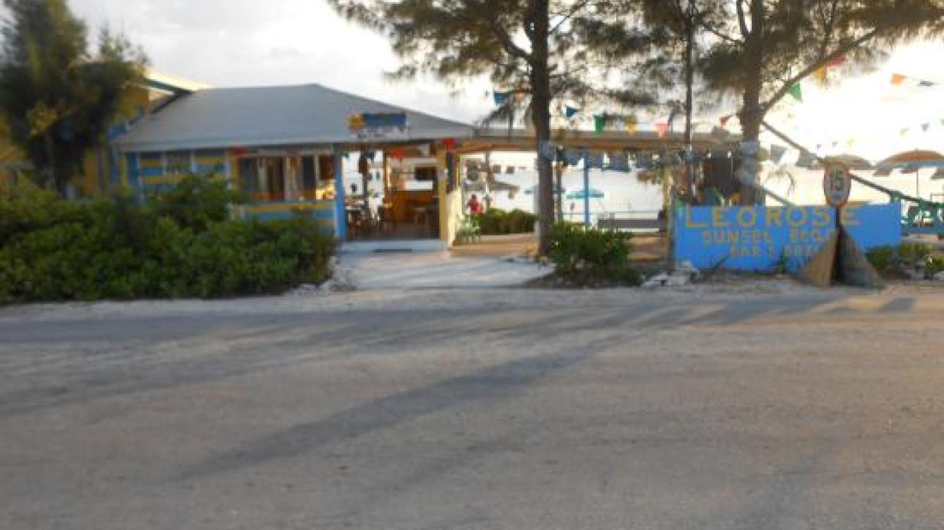 View of LeoRose Sunset Beach Bar & Grill from the highway – tripadvisor