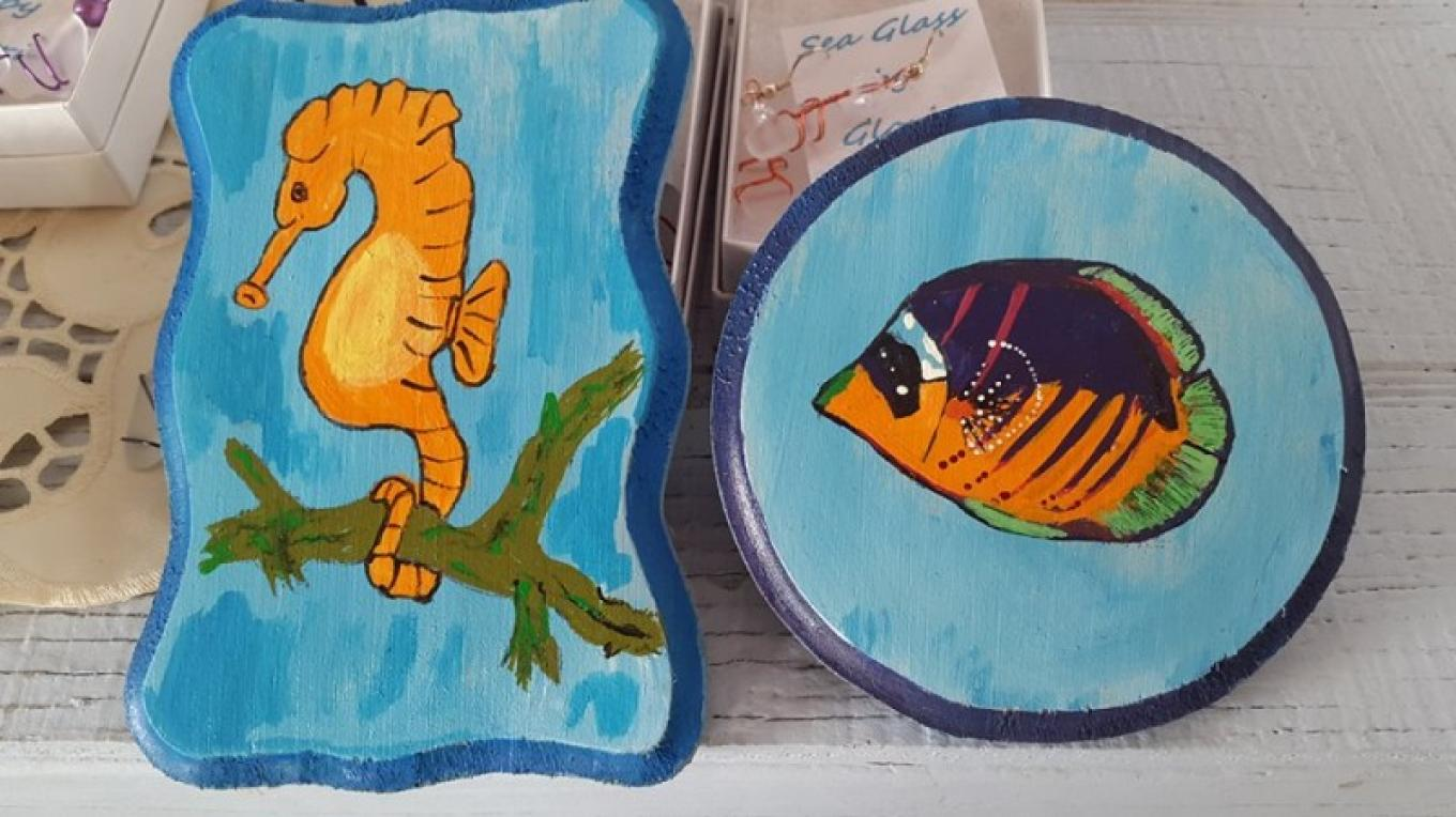 Hand-painted Souvenirs by Mrs. Gloria Culmer.