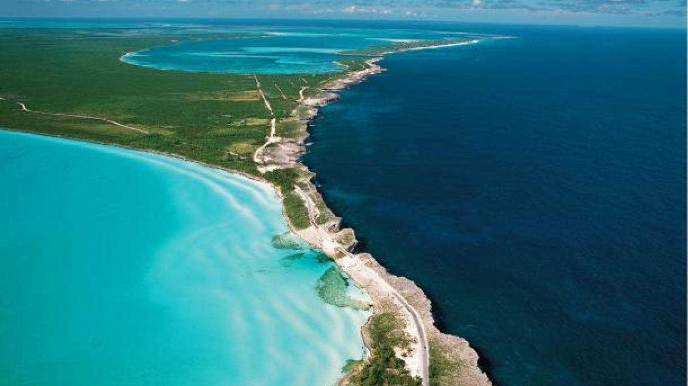 Long range aerial view of The Glass Window Bridge – Bahamas Ministry of Tourism