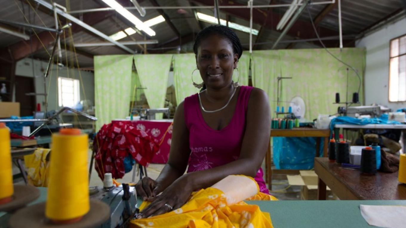Fabric being sewn by staff – Bahamas Ministry of Tourism