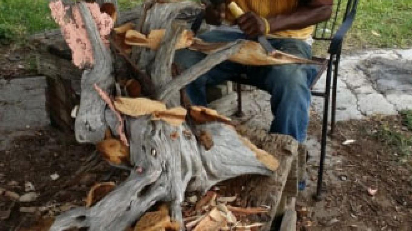 Master woodcarver Kenneth Whitfield carving wood in Sugar Loaf. – JMJ