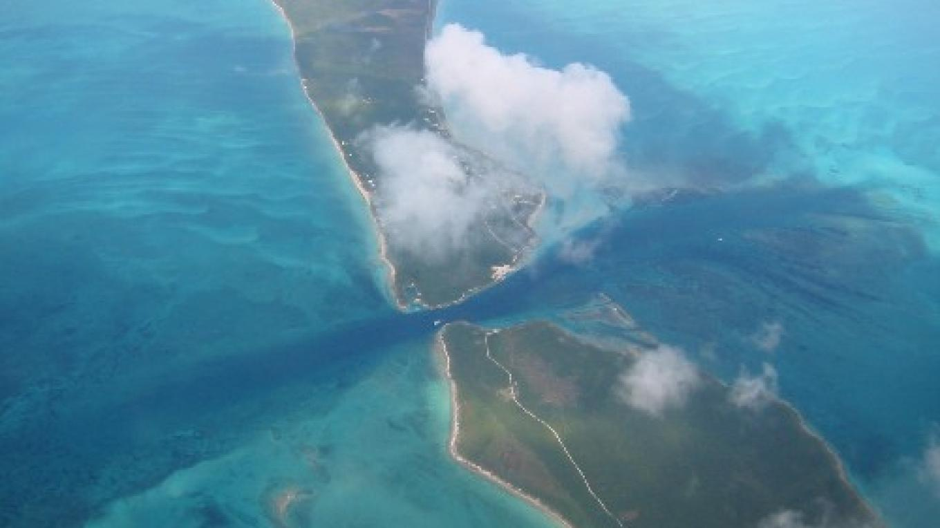 Aerial view of Current Cut – discover eleuthera bahamas