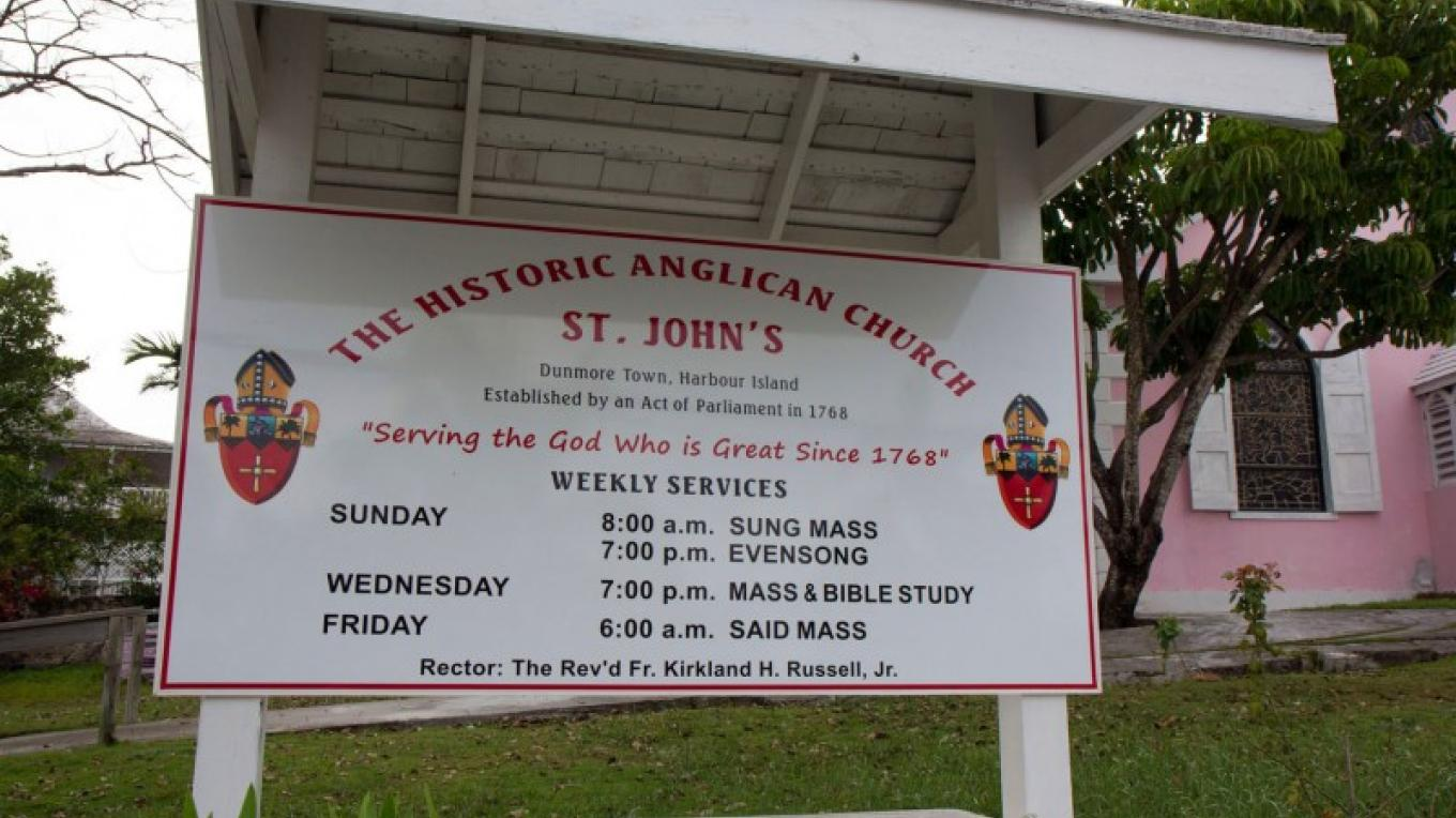 Welcome Sign at front entrance of St. John's Anglican Church – Bahamas Ministry of Tourism