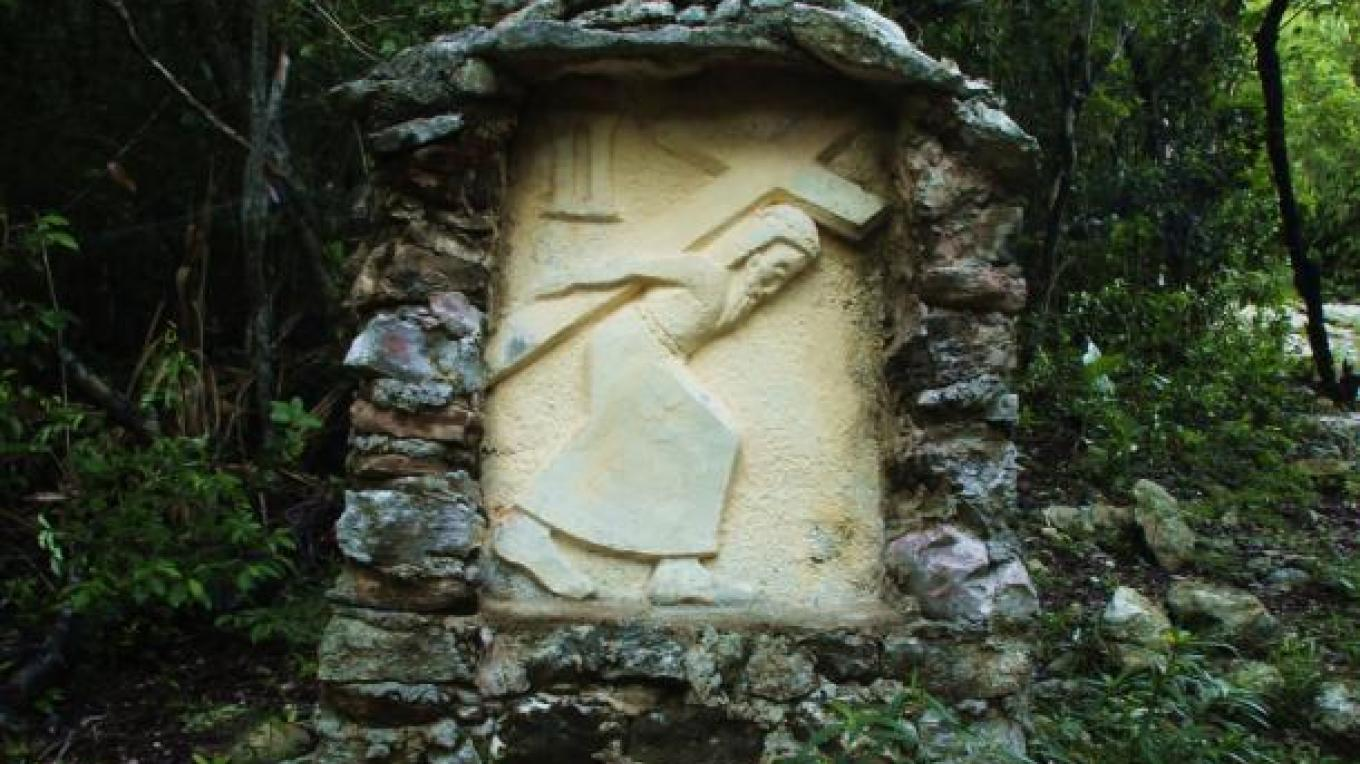 One of the beautiful and detailed hand-carved stone relief's of the Stations of the Cross created by Father Jerome. – Bahamas Ministry of Tourism
