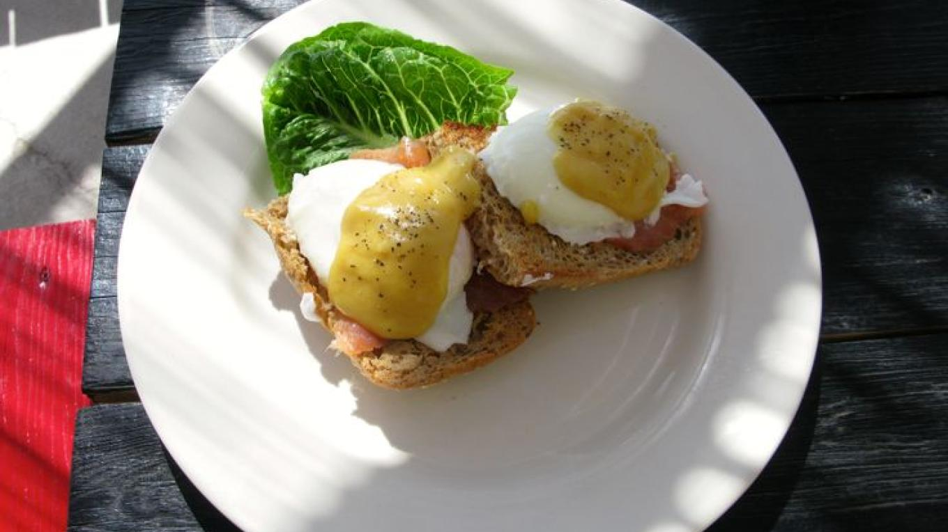 Eggs benedict with salmon sandwich that is sold at Da Perk Cafe – pinterest
